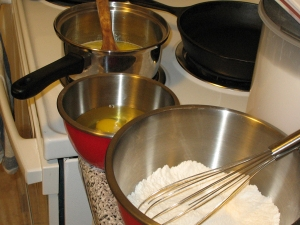 brownies: melting butter, cracking eggs, mixing dry ingredients