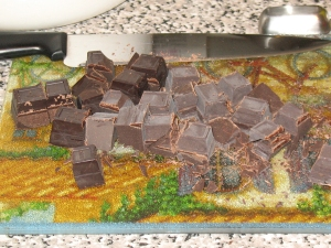 brownies: chopping chocolate